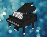 Coloring page A grand piano open painted bysamg