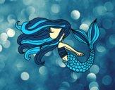 Coloring page Mermaid is floating painted bysamg