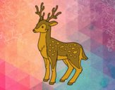 Coloring page A young deer painted bysamg