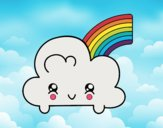 Cloud with Rainbow Kawaii