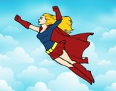 Coloring page Super girl flying painted bysamg