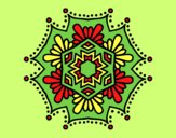 Coloring page Symmetrical flower mandala painted byAnia