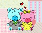 Coloring page Teddy's bears in love painted byAnia