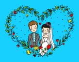 Coloring page Wedding heart painted byAnia