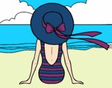 Coloring page Woman looking at the sea painted bysamg