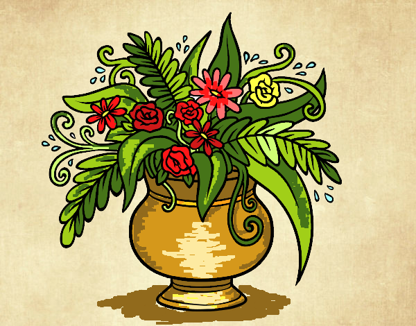Coloring page A vase with flowers painted byFranka