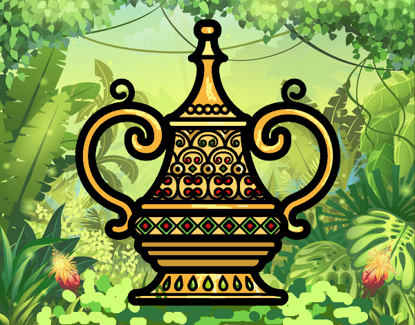 Coloring page Arabic vase painted byFranka