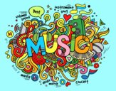 Coloring page Musical collage painted byAnia