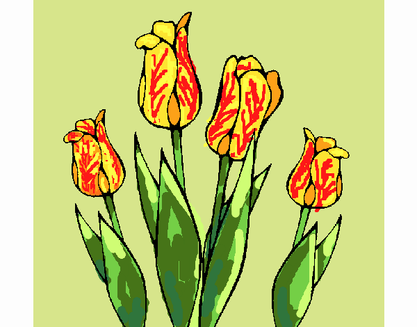 Coloring page Tulips painted byFranka