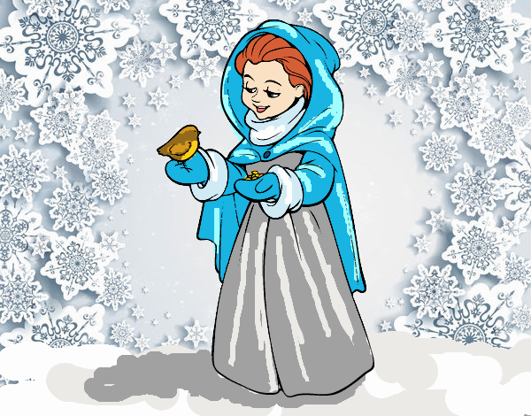 Coloring page Woman with a bird on winter painted byFranka