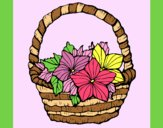 Coloring page Basket of flowers 2 painted byAnia