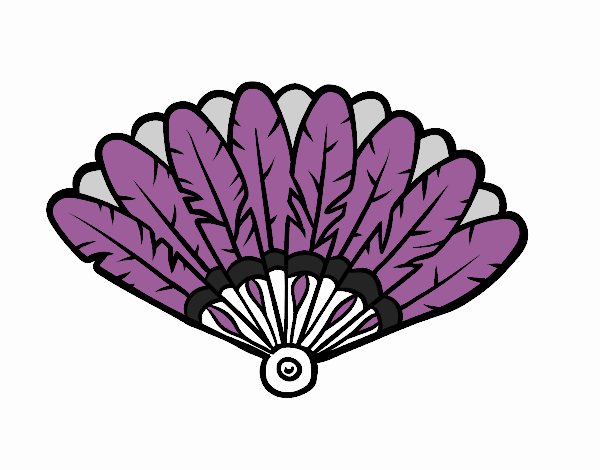 Colored Page Feather Hand Fan Painted By User Not Registered