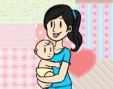 Coloring page In arms of mom painted byAnia