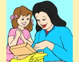 Coloring page Mother and daughter painted byAnia