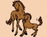 Coloring page Horses painted byAnia