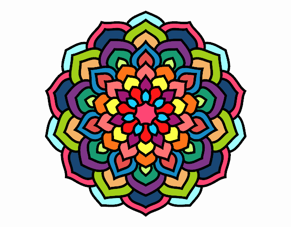 Coloring page Mandala flower petals painted byFABBI