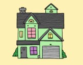 Coloring page American family house painted byAnia