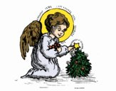 Coloring page Christmas Little angel painted byKhaos006