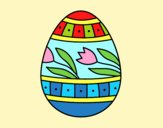 Coloring page Easter egg with tulips painted byAnia