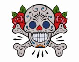 Coloring page Skull tattoo painted byKhaos006