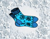 Coloring page Winter socks painted byAnia