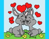 Coloring page Bunnies in love painted byAnia