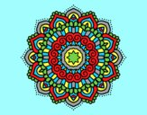 Coloring page Mandala decorated star painted byAnia
