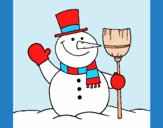 Coloring page snowman with broom painted byAnia