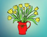 Coloring page Vase of tulips painted byAnia