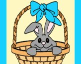 Coloring page Bunny in basket painted byAnia
