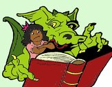 Coloring page Dragon, girl and book painted bymicheleof4