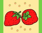 Coloring page strawberries painted byAnia