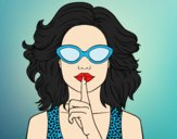 Coloring page Girl with sunglasses painted byAnia