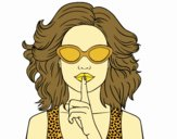 Coloring page Girl with sunglasses painted byrakerosh4