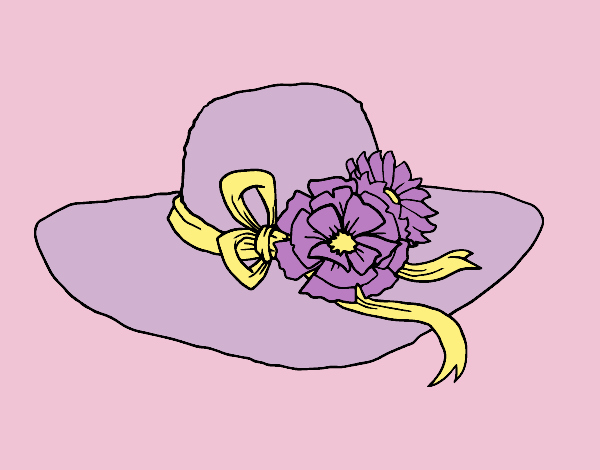 Coloring page Hat with flowers painted byAnia