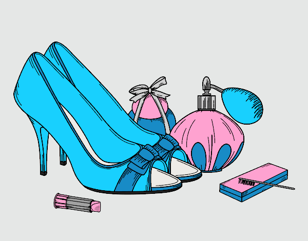 Coloring page Shoes and makeup painted byAnia