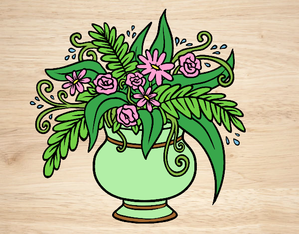 Coloring page A vase with flowers painted bylorna