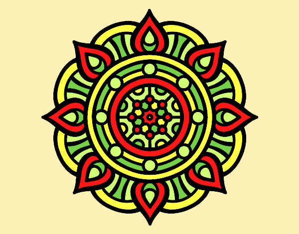 Coloring page Mandala fire points painted byAnia