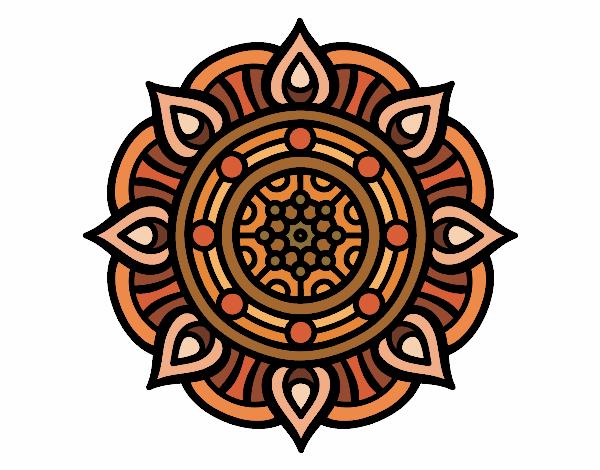 Coloring page Mandala fire points painted byyokouno