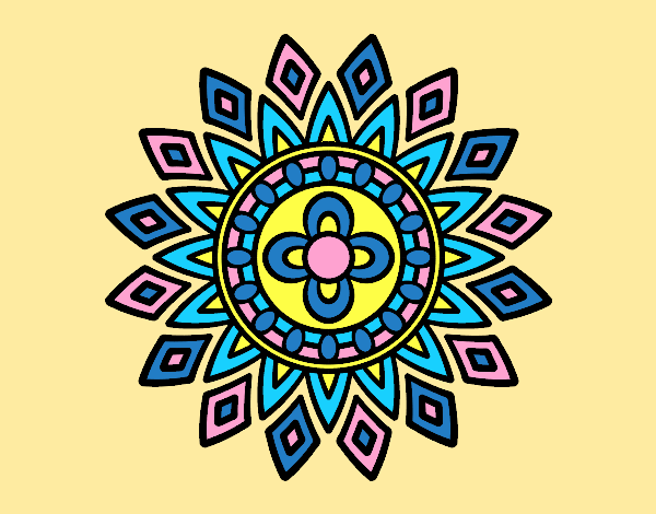 Coloring page Mandala flashes painted byAnia