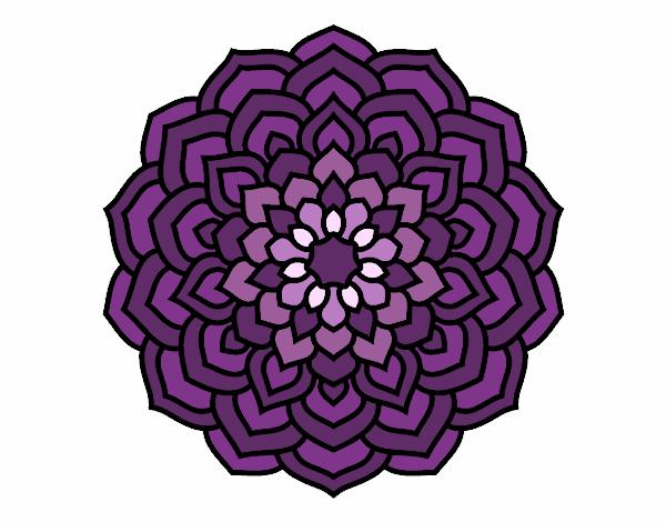 Coloring page Mandala flower petals painted byyokouno