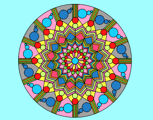 Coloring page Mandala flower with circles painted byAnia