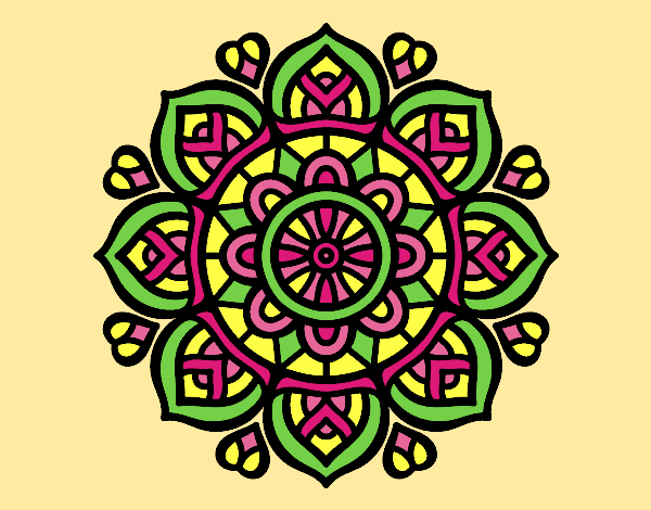 Coloring page Mandala for mental concentration painted bylorna