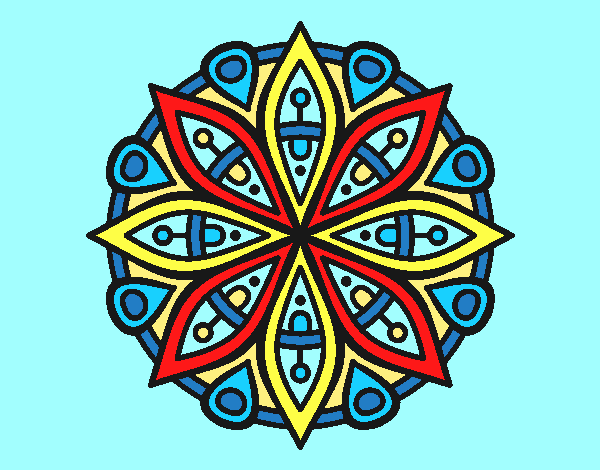 Coloring page Mandala for the concentration painted bylorna
