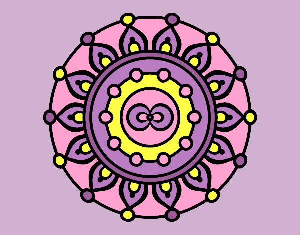 Coloring page Mandala meditation painted bylorna