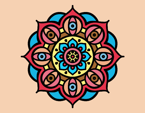 Coloring page Mandala open eyes painted byAnia