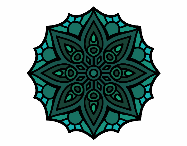 Coloring page Mandala simple symmetry  painted byyokouno