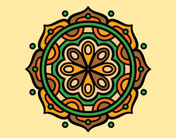 Coloring page Mandala to meditate painted byAnia