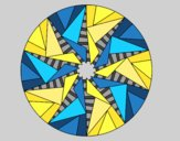 Coloring page Mandala triangular sun painted byAnia