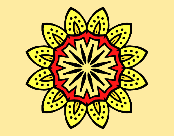 Coloring page Mandala with petals painted byAnia